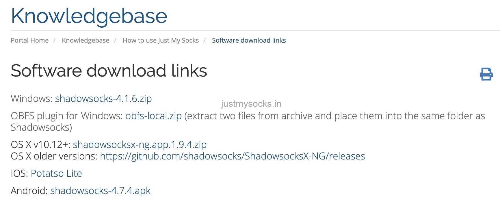 justmysocks software download